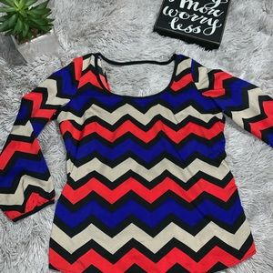 Aztec print blouse Criss Cross Back